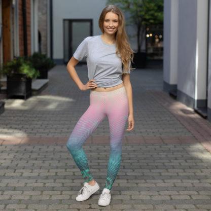 Psychedelic Leggings, Swirl of dots leggings, polka dot patterned leggings, gradient leggings, 1