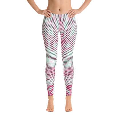 Polka Dot Leggings, Swirly Yoga Pants, Psychedelic Street wear Leggings, Pink Green White Clubbing Leggings 3