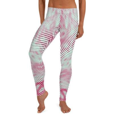 Polka Dot Leggings, Swirly Yoga Pants, Psychedelic Street wear Leggings, Pink Green White Clubbing Leggings 2