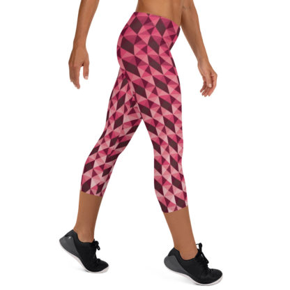 Abstract Geometric Shape Pattern in Red Capri Leggings 5