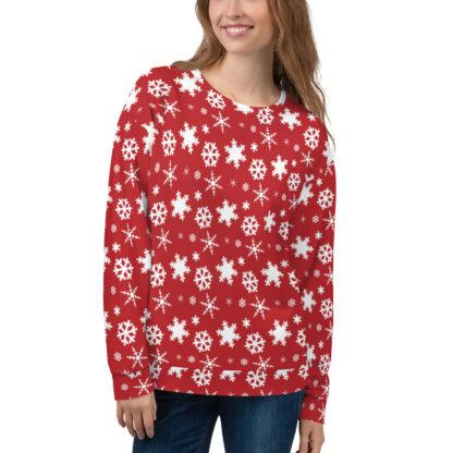 Snowflake Pattern Sweatshirt - Red Jumper with Snowflakes - Christmas Snowflake Sweater 1