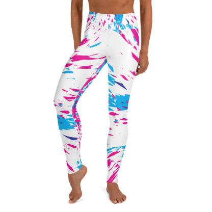 Shards of Colour Yoga Leggings (White) 1