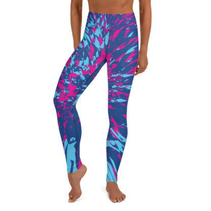 Shattered Colours Blue Yoga Leggings 1