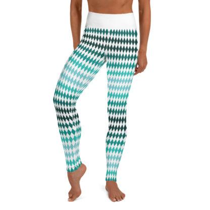 Green Yoga Leggings Diamond Pattern, Diamond Pattern Yoga Pants 1