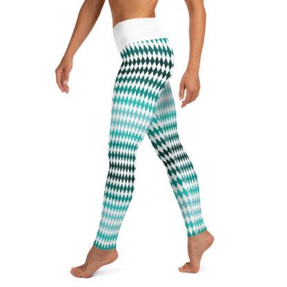 Green Yoga Leggings Diamond Pattern, Diamond Pattern Yoga Pants 5