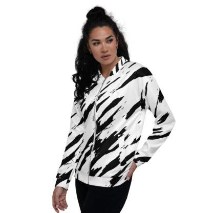 Zebra Print Black and White Bomber Jacket