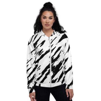 Black & White Zebra Unisex Bomber Jacket 1